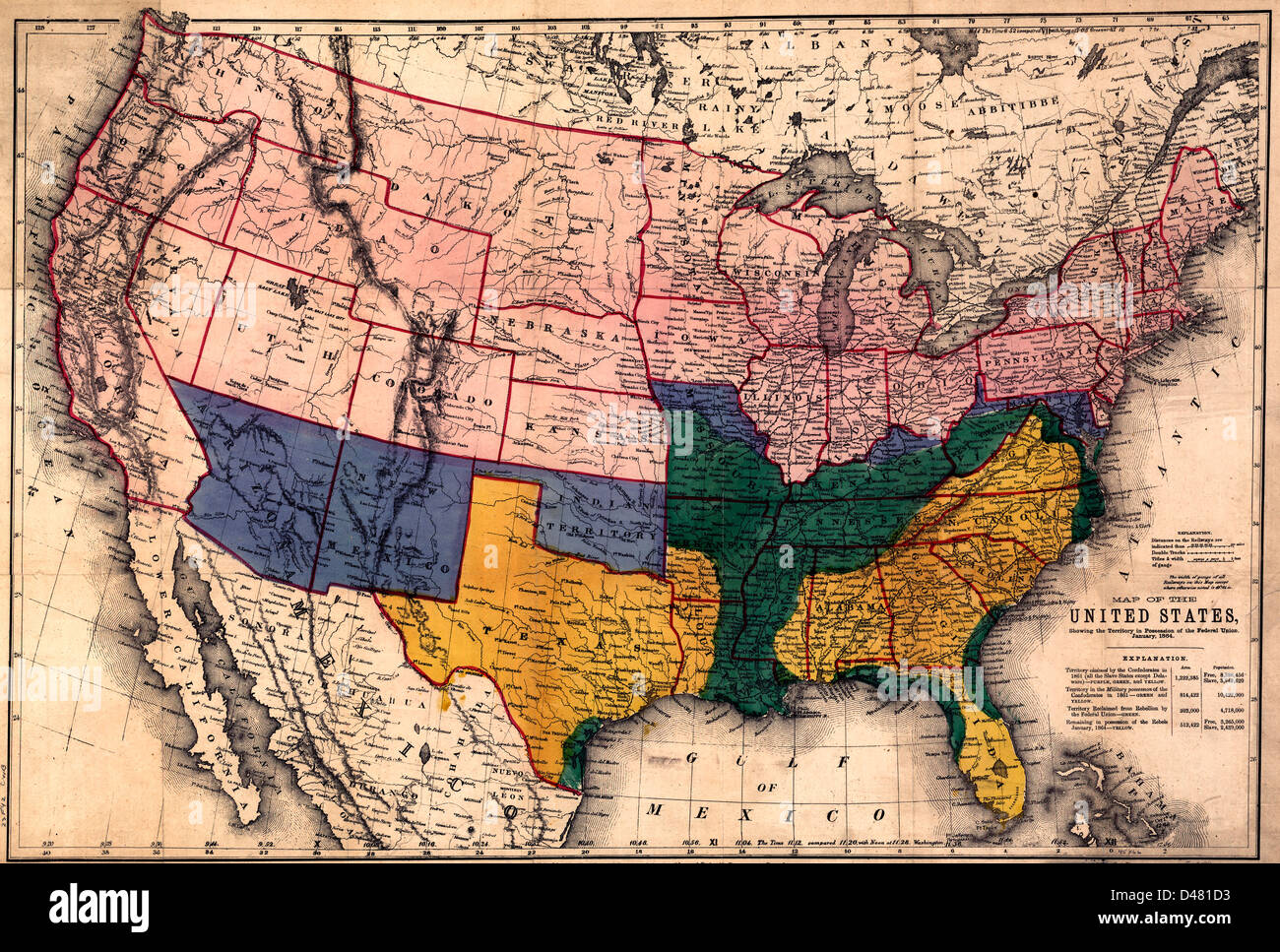 Map of the United States, showing the territory in possession of the Federal Union, January, 1864. - Stock Image