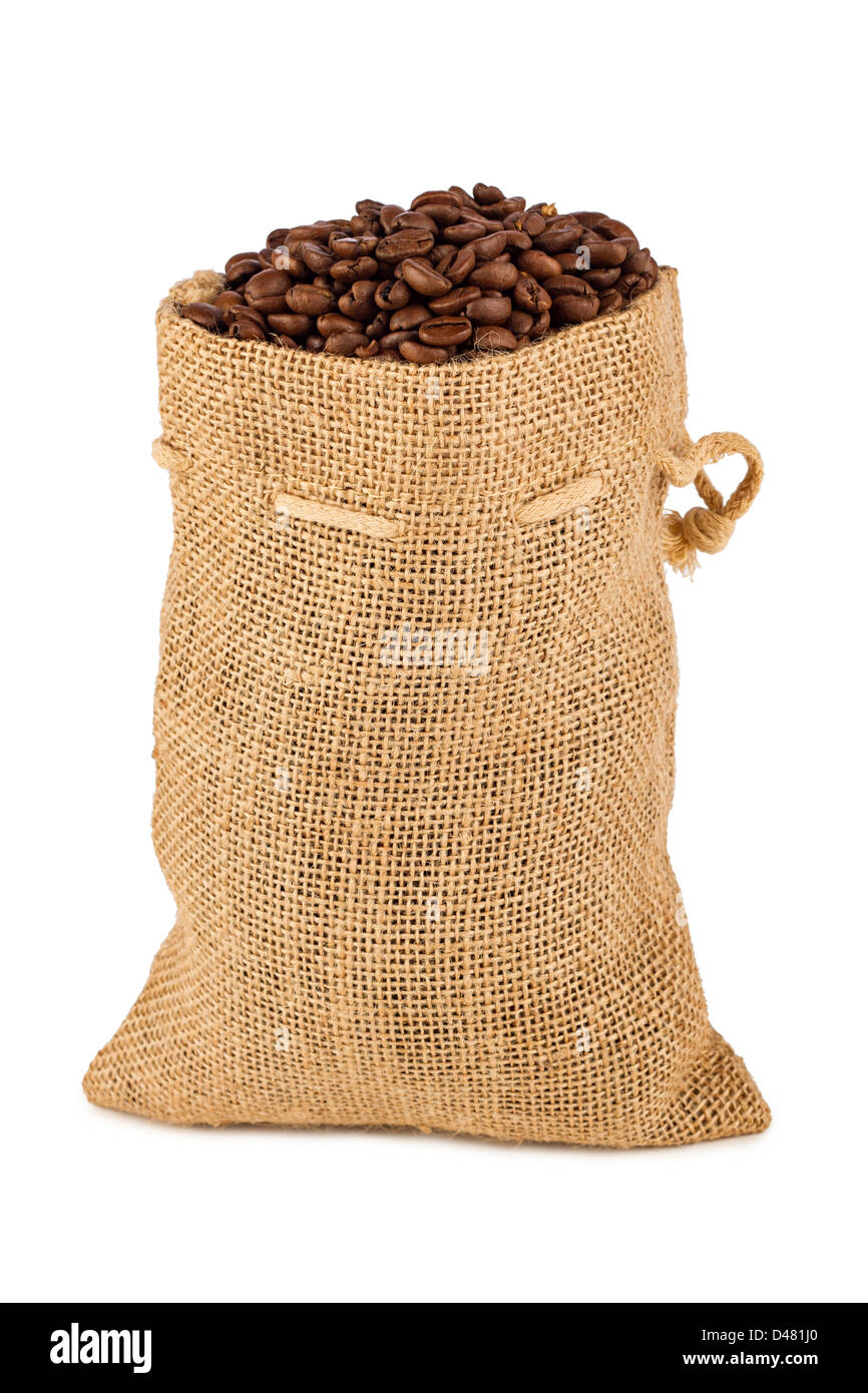a back filled with coffee beans - Stock Image