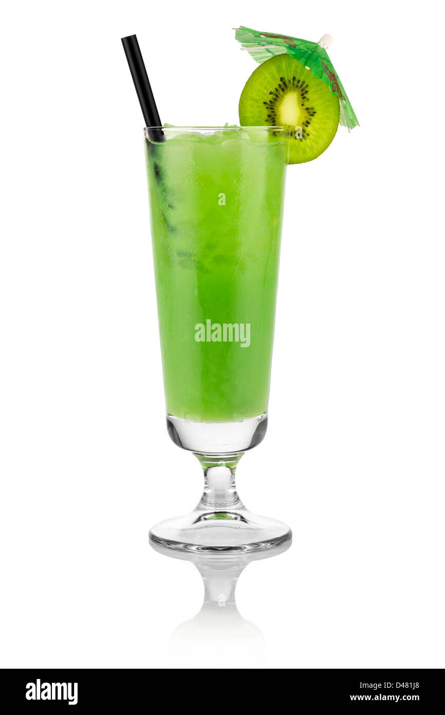 Cocktail kiwi in front of white background - Stock Image