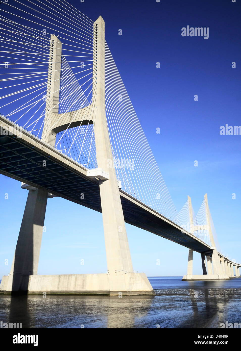 Vasco da Gama bridge is the largest in Europe over the Tagus river - Stock Image