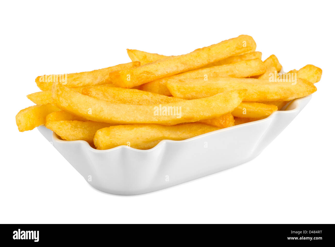 ceramic bowl with french fries. - Stock Image
