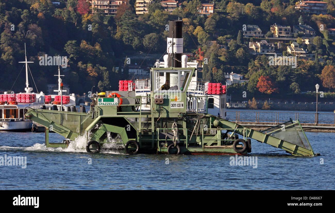 dredging ship at Lake Como, Italy - Stock Image