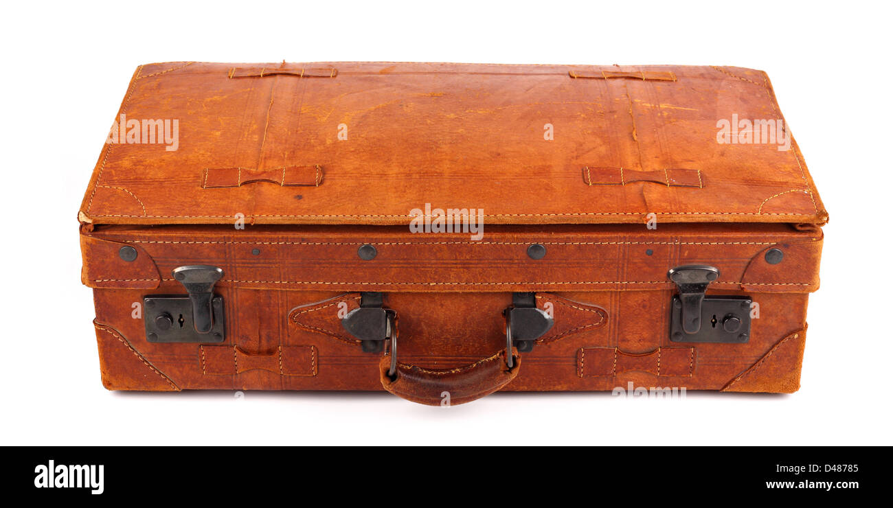 An old leather suitcase on white background - Stock Image