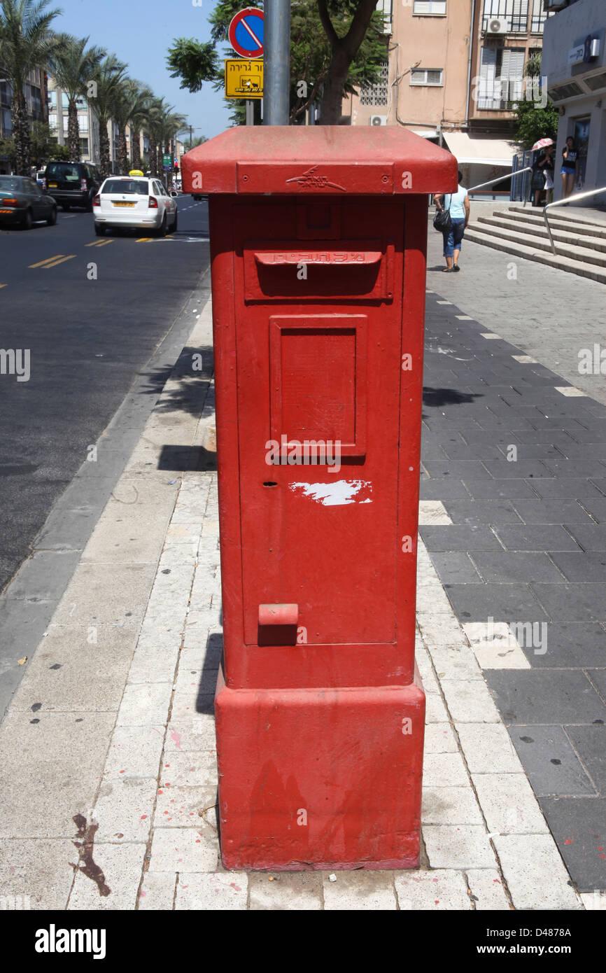 Israel, Tel Aviv, Israeli Postal Authority postbox - Stock Image