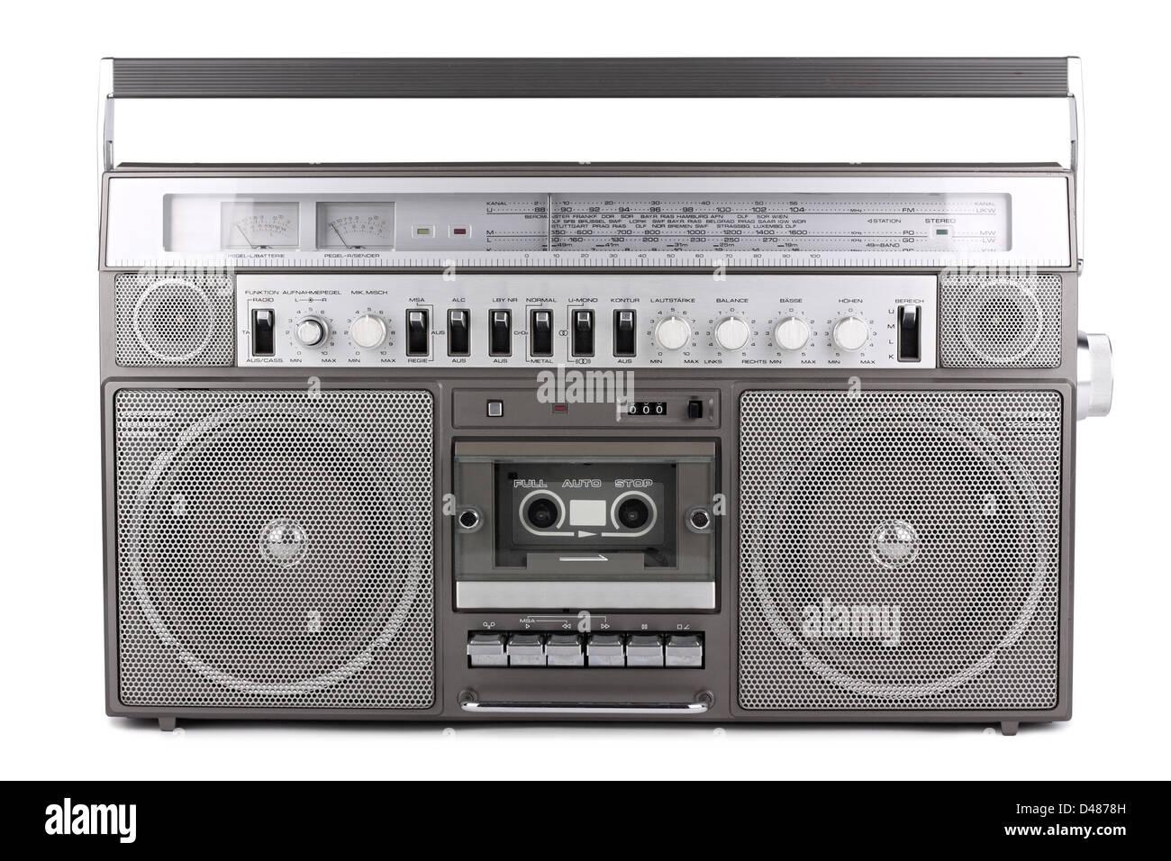 old retro radio on white background - Stock Image