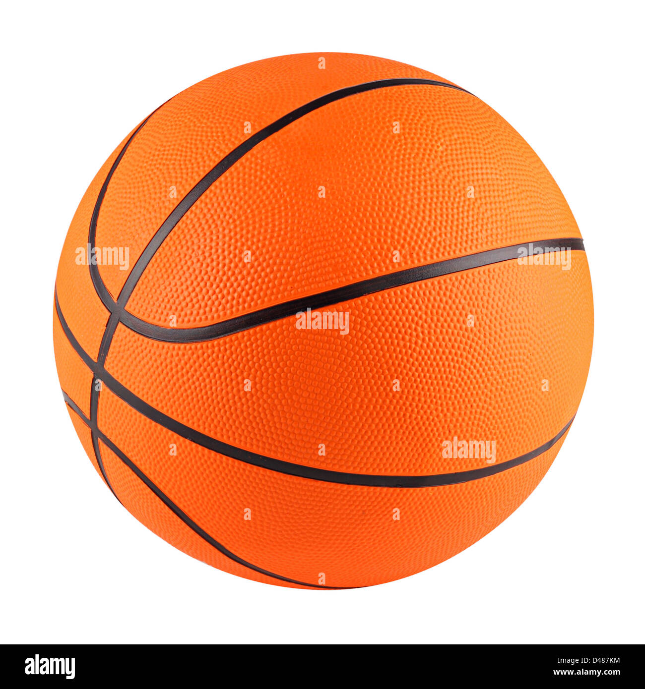 a orange basketball in front of white background - Stock Image