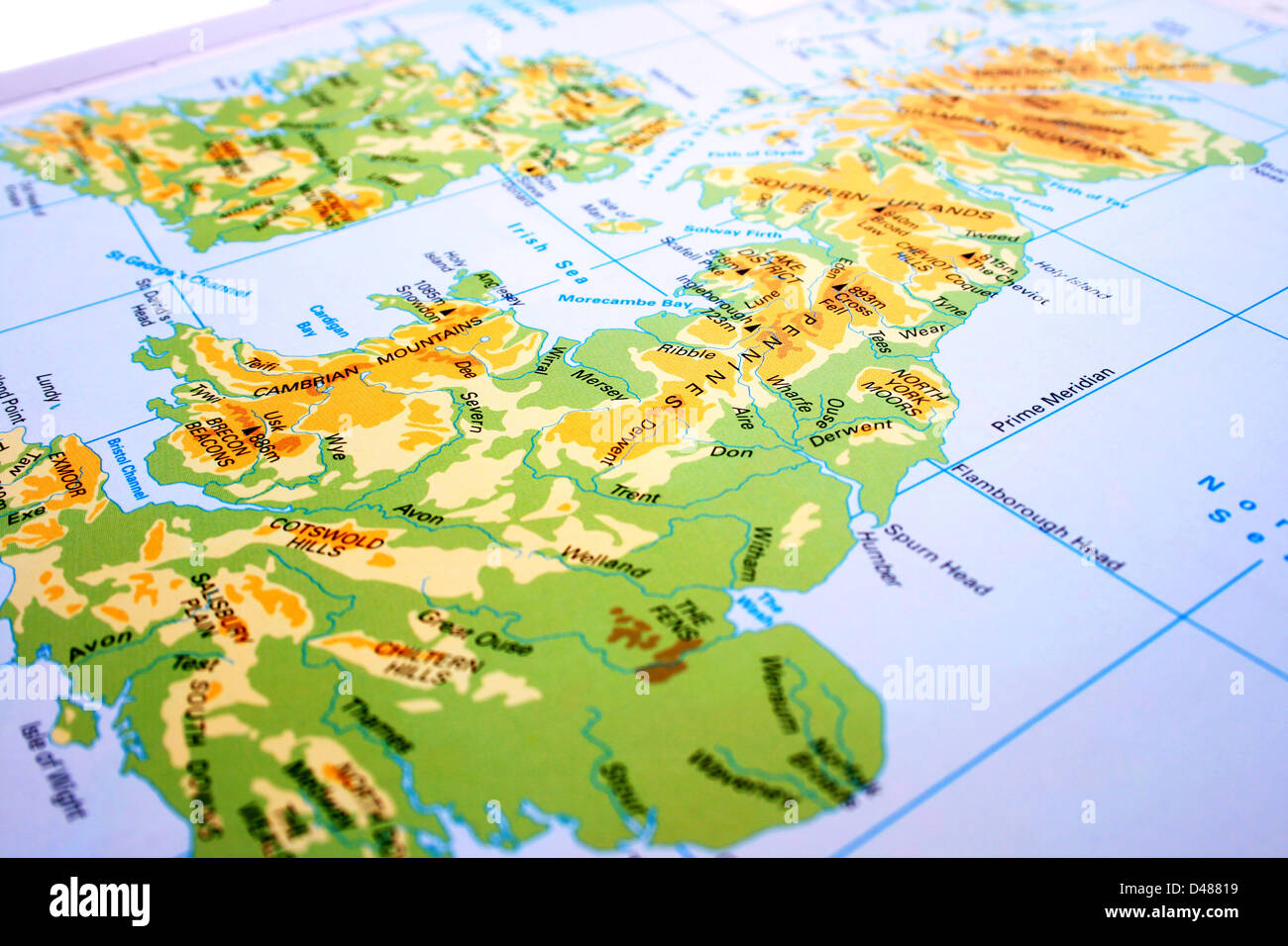 Map Of Uk Mountains And Rivers.United Kingdom Map Mountains Rivers Stock Photo 54271653 Alamy