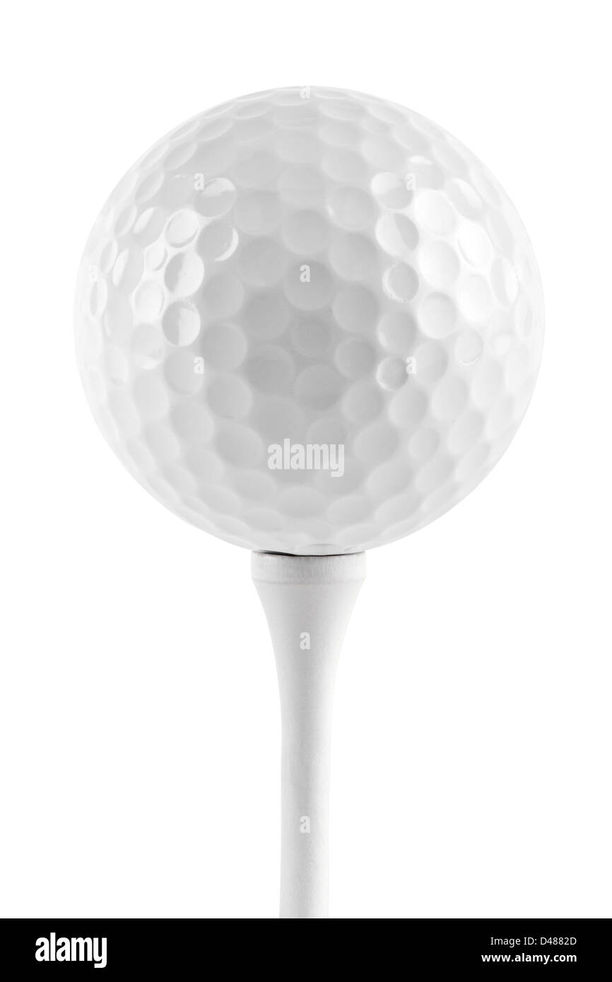 golf ball on tee in front of white background - Stock Image