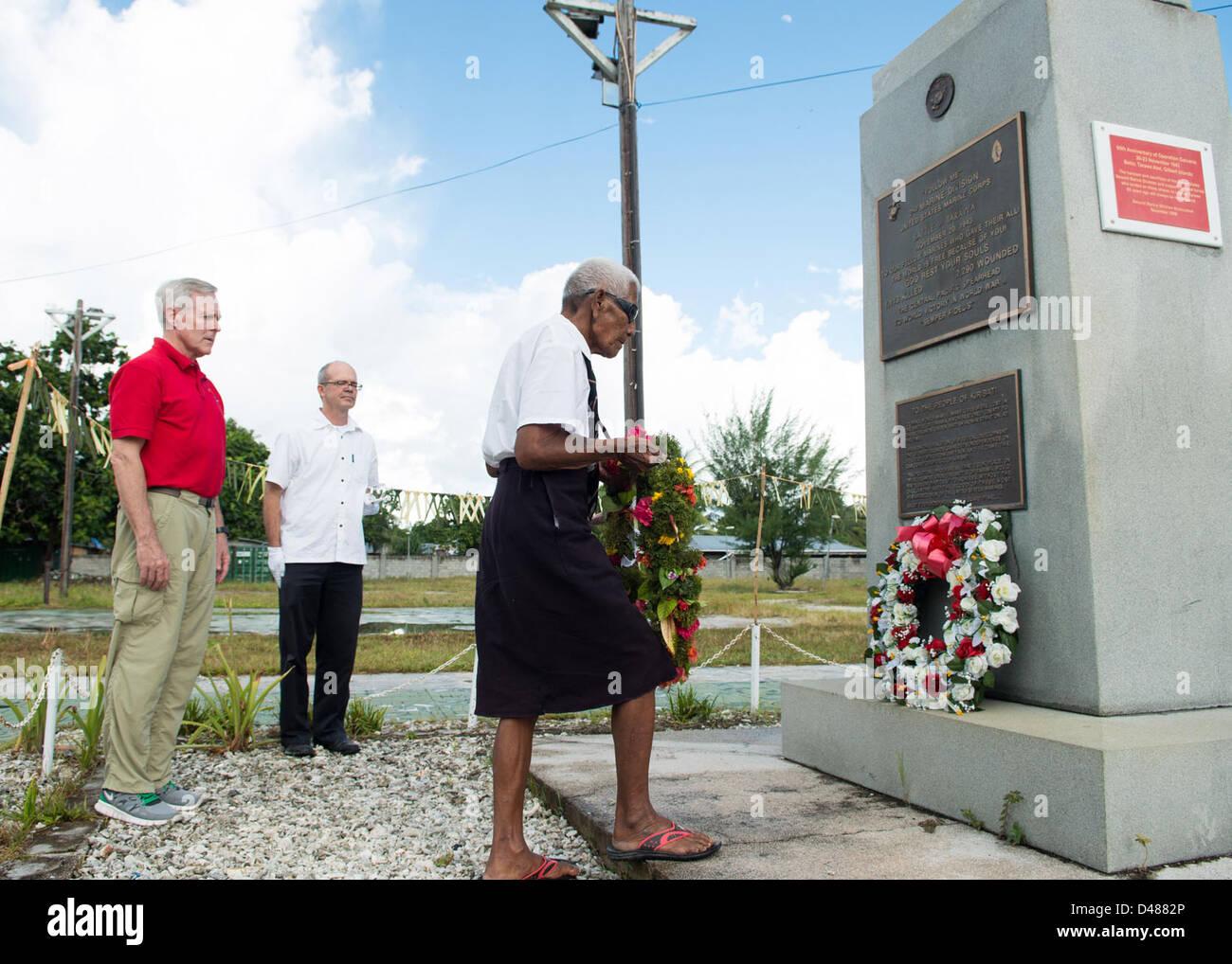 SECNAV visits the site of the Battle of Tarawa. - Stock Image