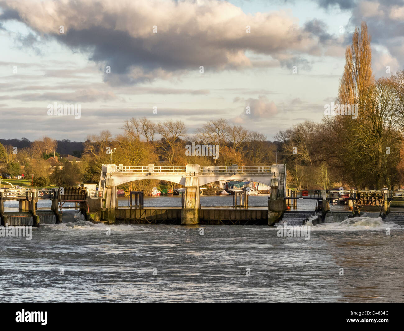 The weir in the Thames river at Teddington Lock Stock Photo
