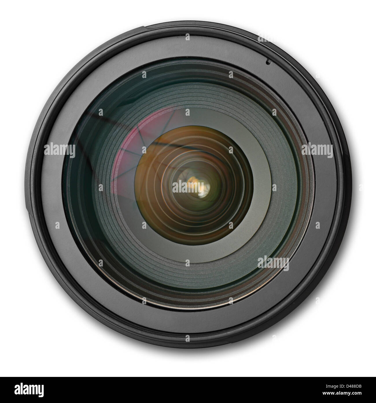 a dslr lens on white background - Stock Image