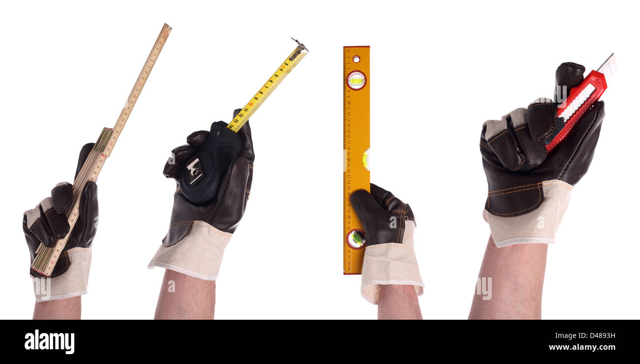 hands with different tools in gloves - Stock Image