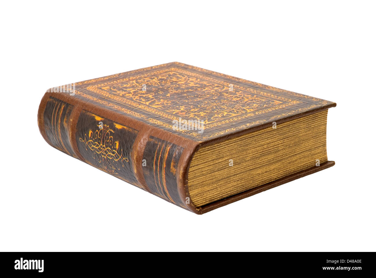 Ancient book is photographed on the white background - Stock Image
