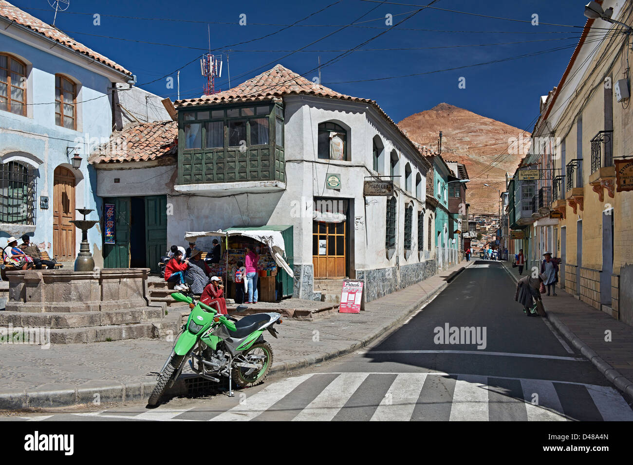 Colourful colonial architecture in the streets of Potosi, Bolivia, South America - Stock Image