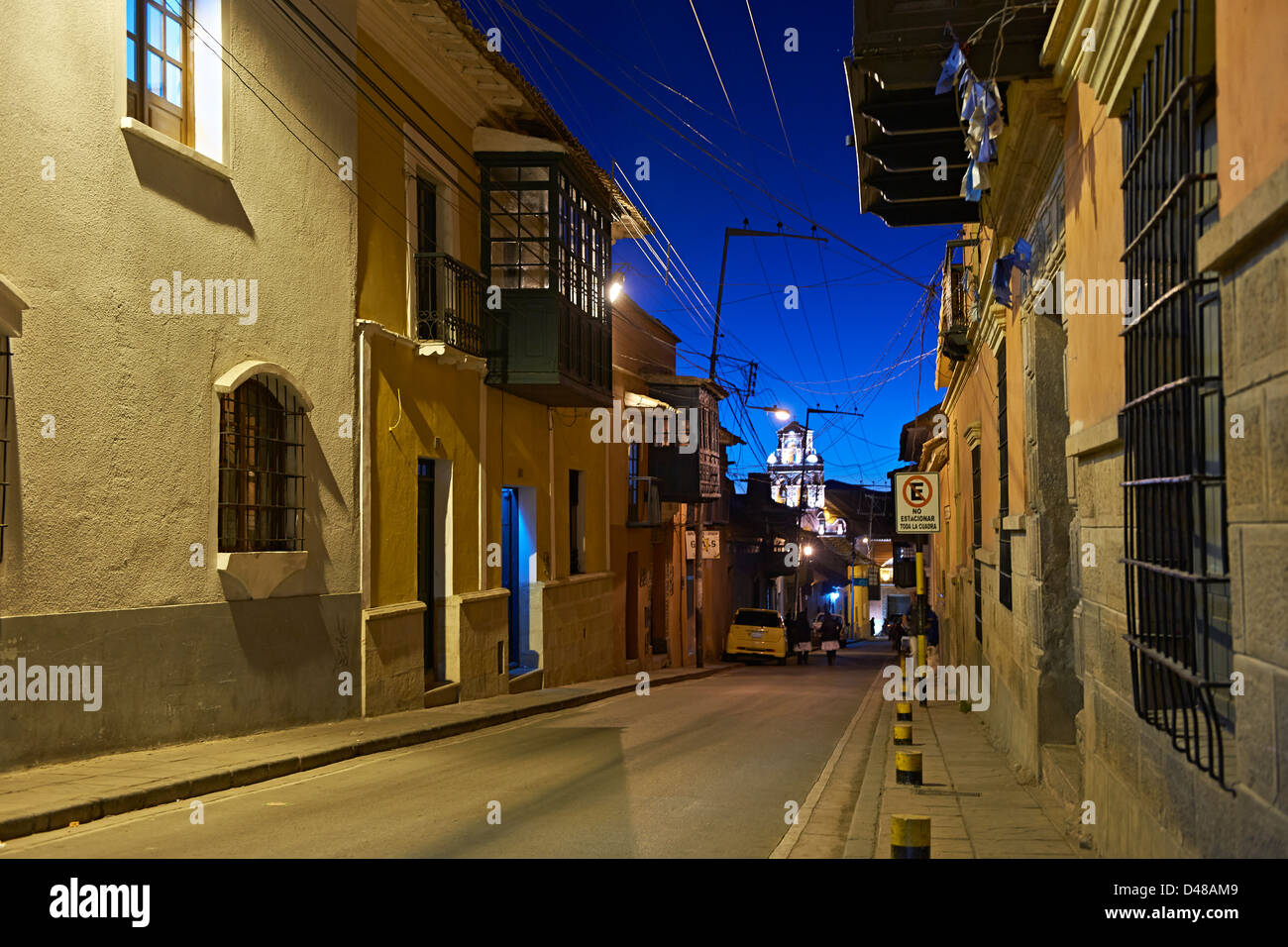 night shot colonial architecture in the streets of Potosi, Bolivia, South America - Stock Image