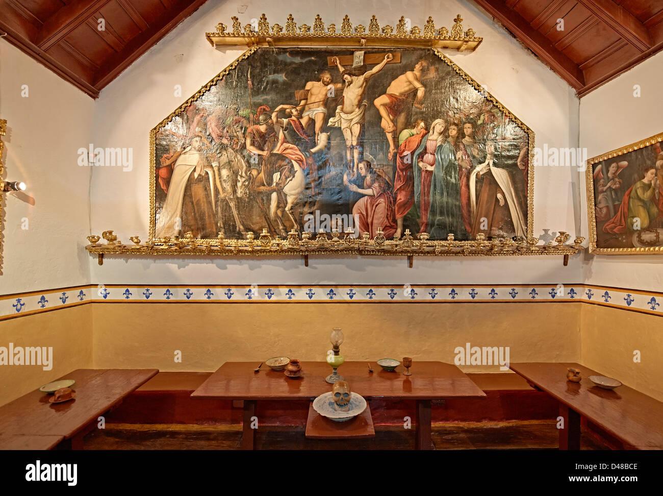 dining room in convent, Convento de Santa Teresa, Potosi, Bolivia, South America - Stock Image