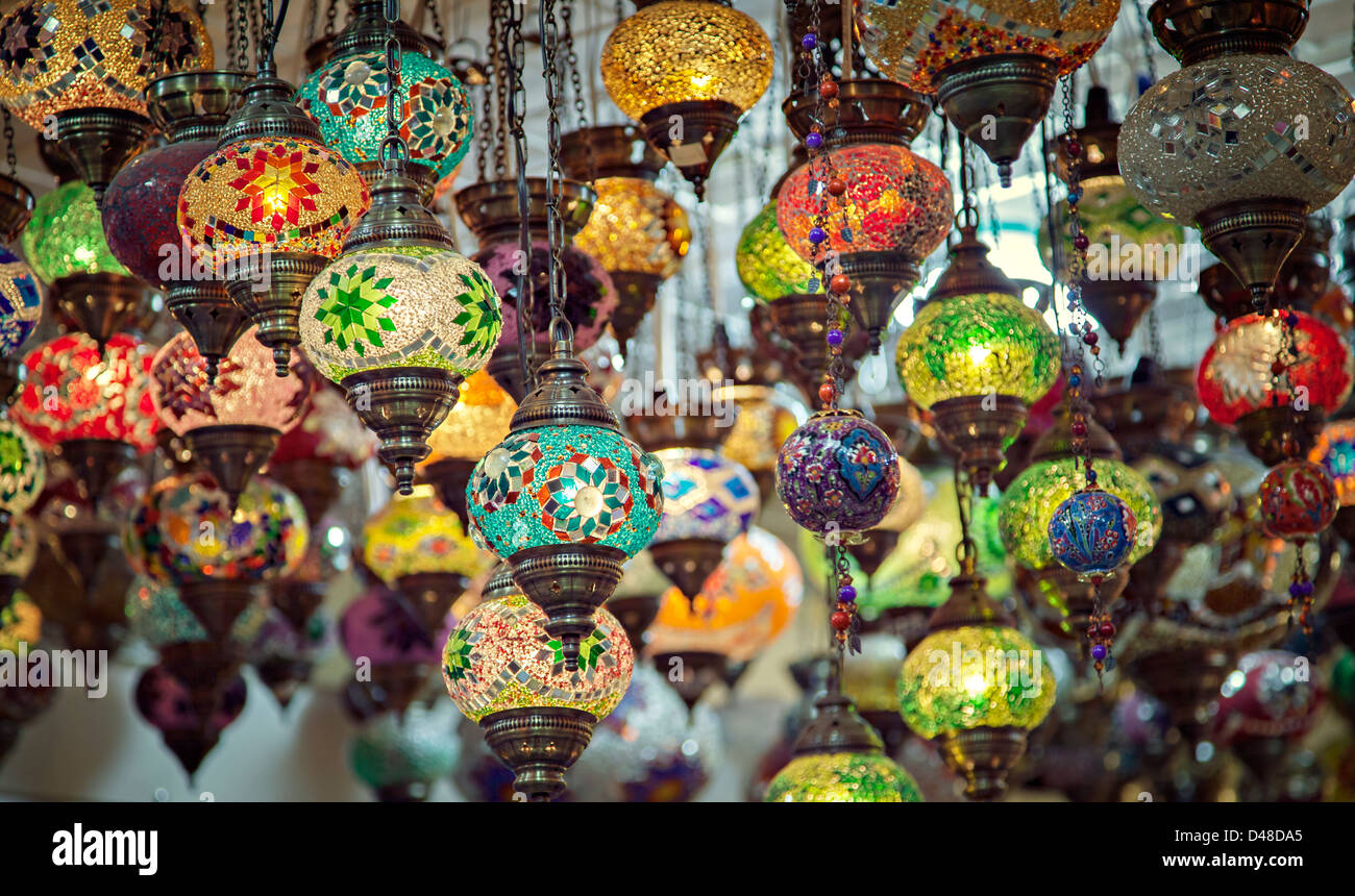 Colorful Mosaic Lamps Commonly Found In Turkey.   Stock Image