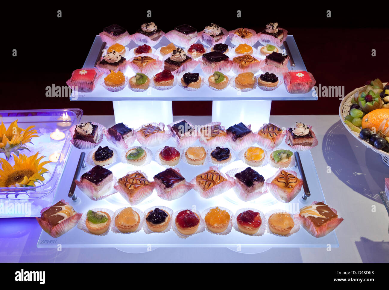 Catering Platters With Small Cakes Stock Photo Alamy