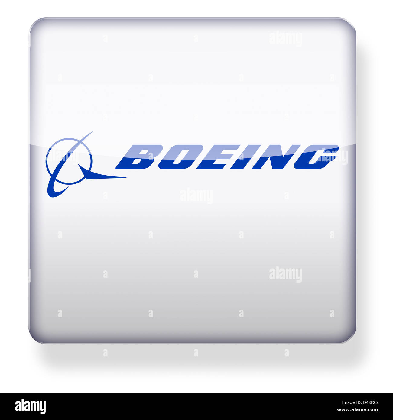 Boeing logo as an app icon. Clipping path included. Stock Photo