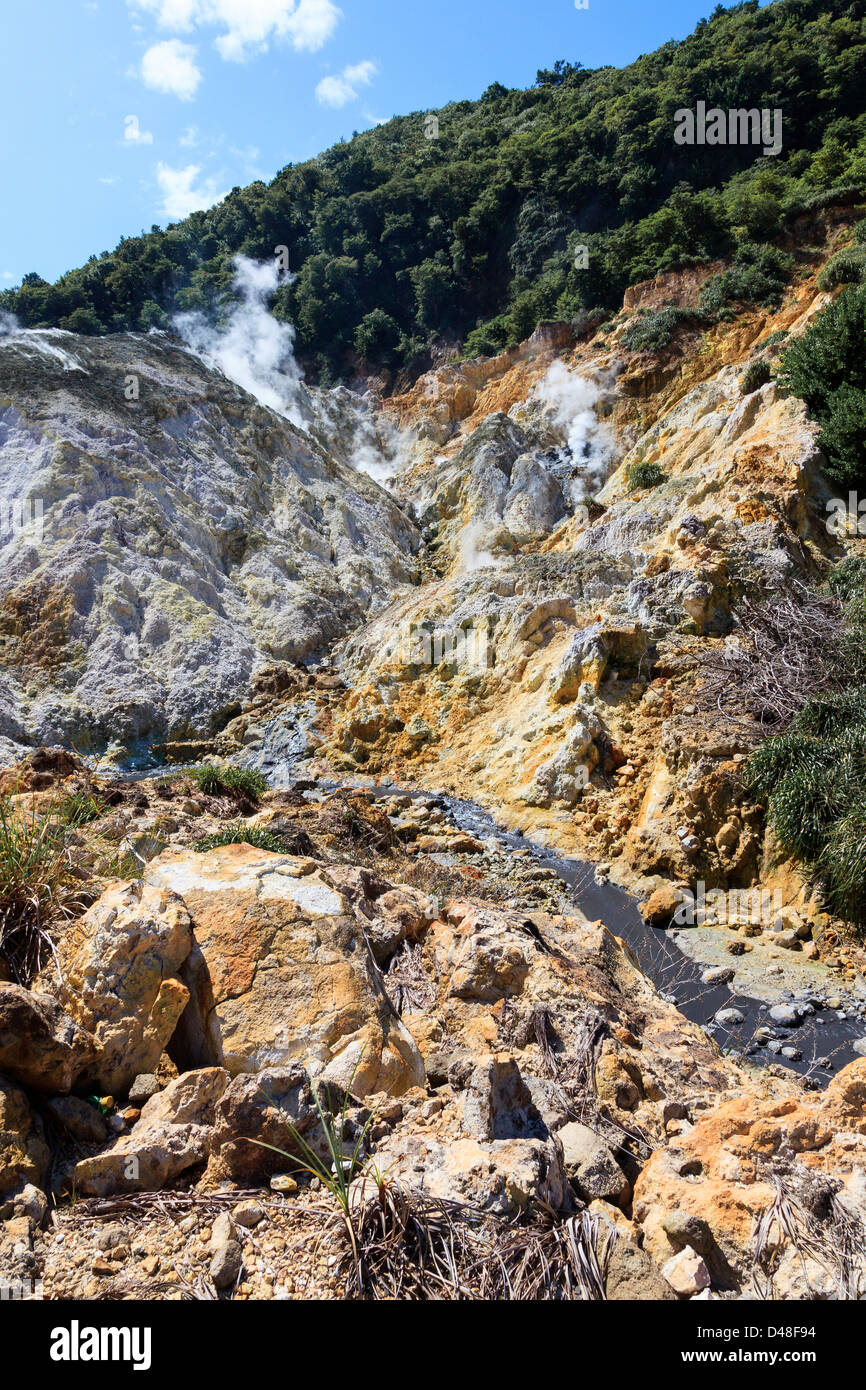Sulphur springs from the active volcano at La Soufriere, St Lucia - Stock Image