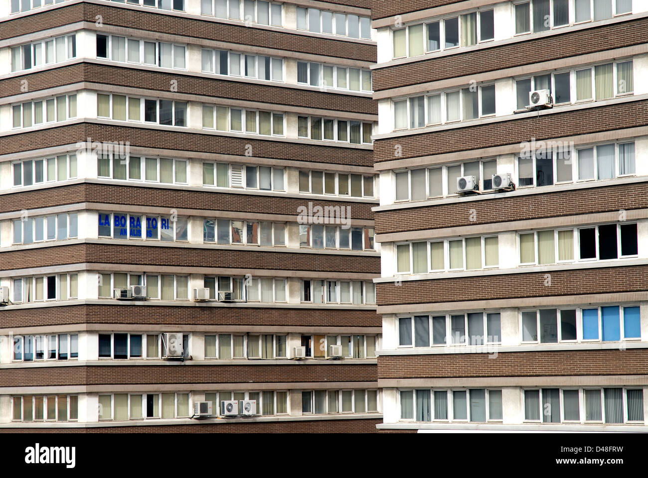 Barcelona Meridiana avenue buildings close up house windows  air conditioner - Stock Image