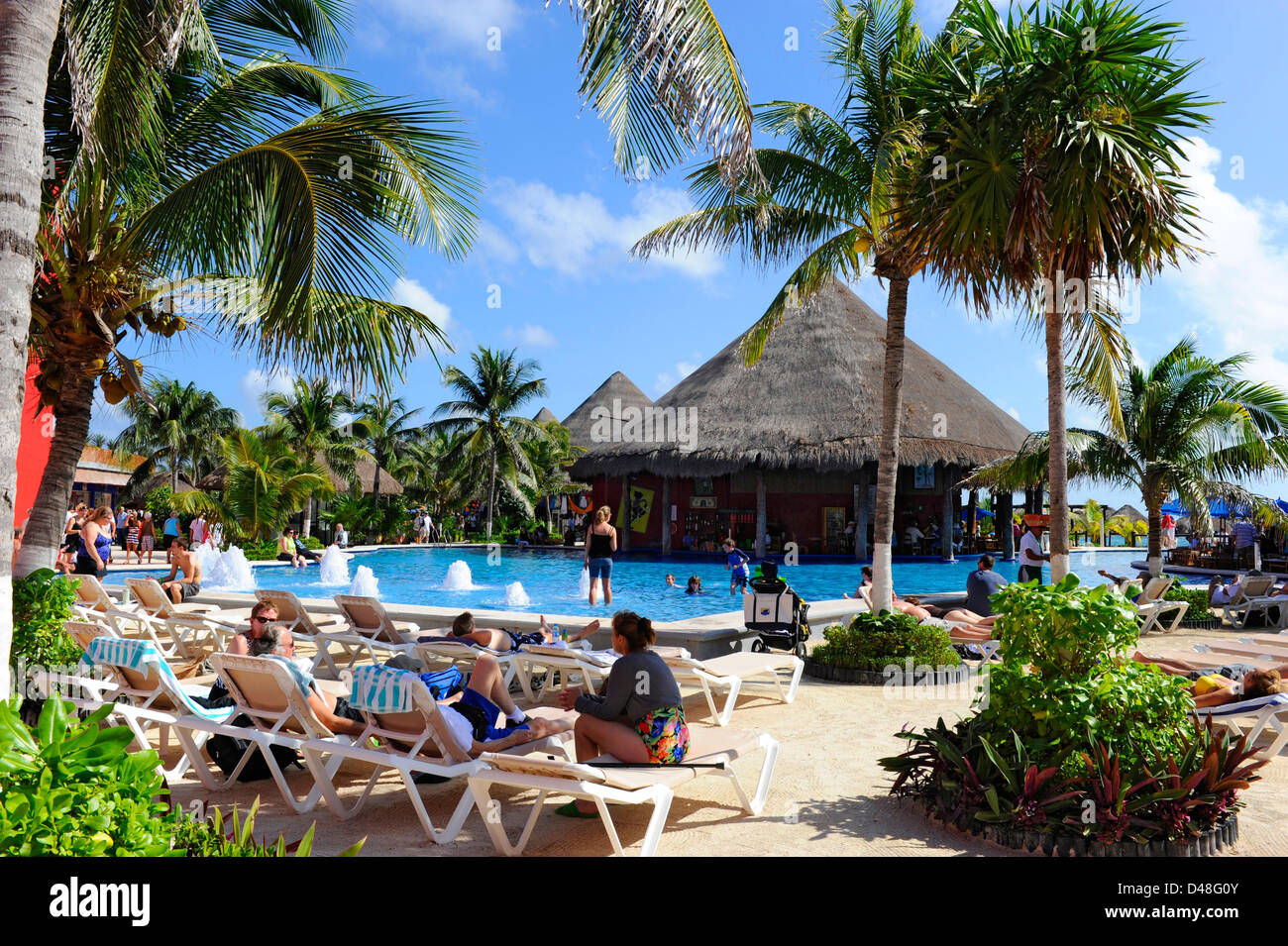 Costa Maya Mexico Beach Caribbean Cruise Ship Port Swimming Pool - Stock Image