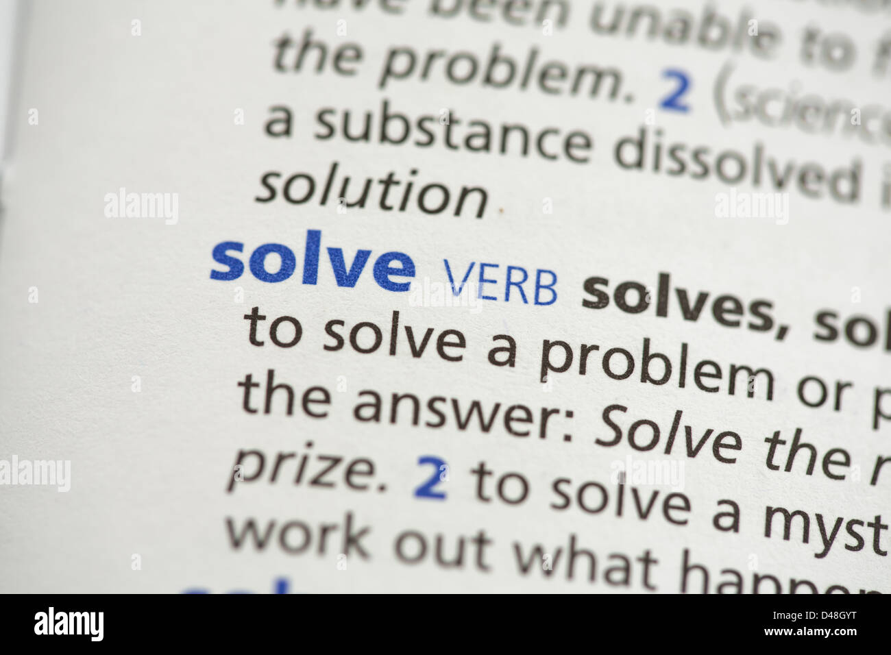 Solve definition - Stock Image