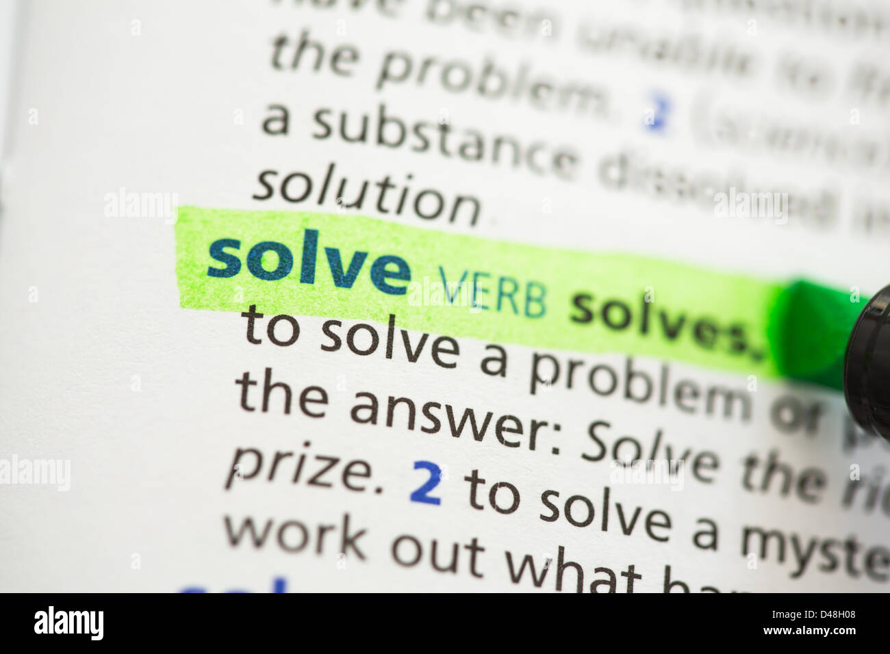 Solve definition highlighted - Stock Image