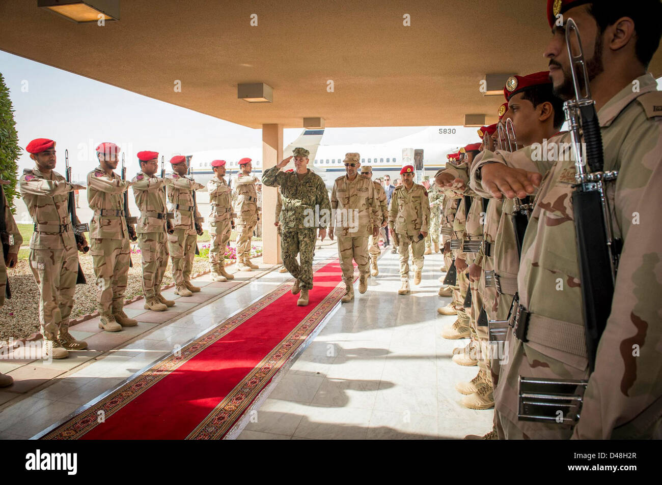 CNO Adm. Greenert is welcomed at King Abdulaziz Naval Base. - Stock Image