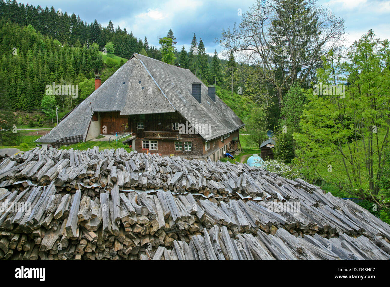 Germany;South Germany;Schwarzwald;Black Forest;traditional rural farm house with firewood - Stock Image