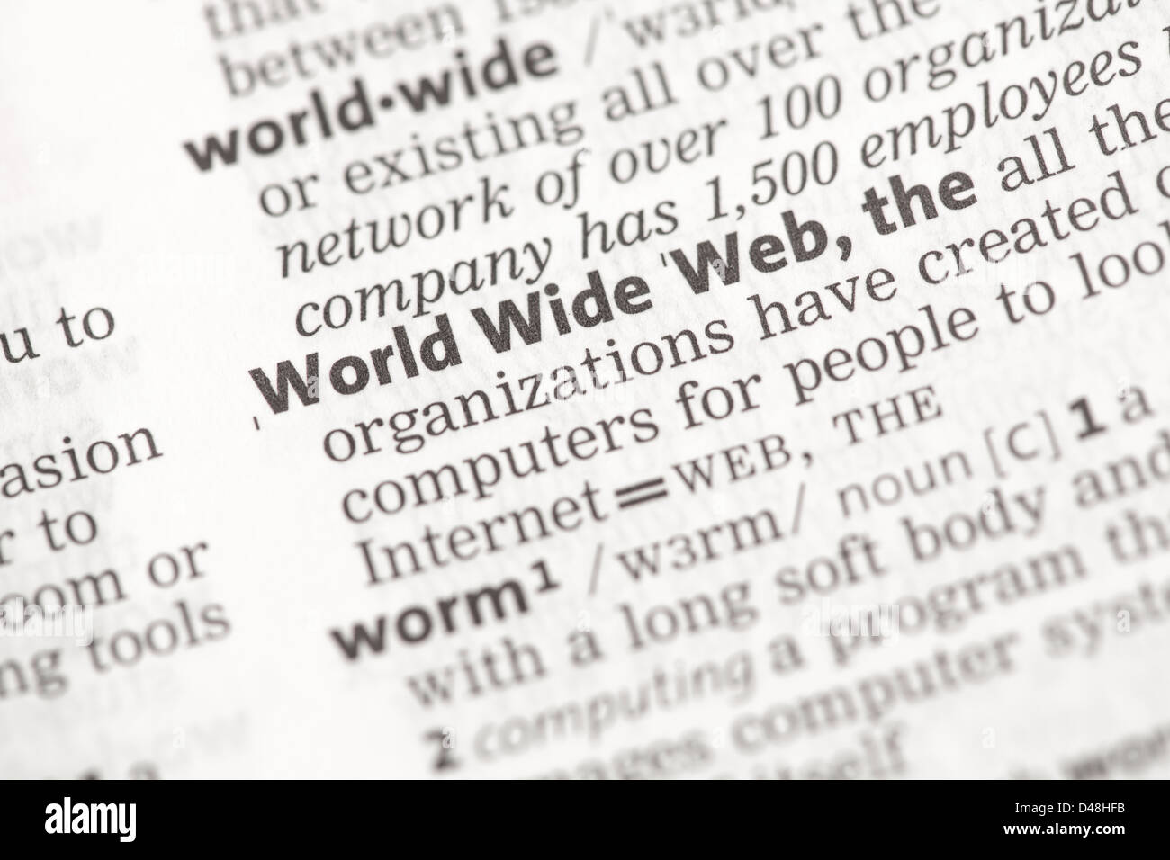 World Wide Web definition - Stock Image