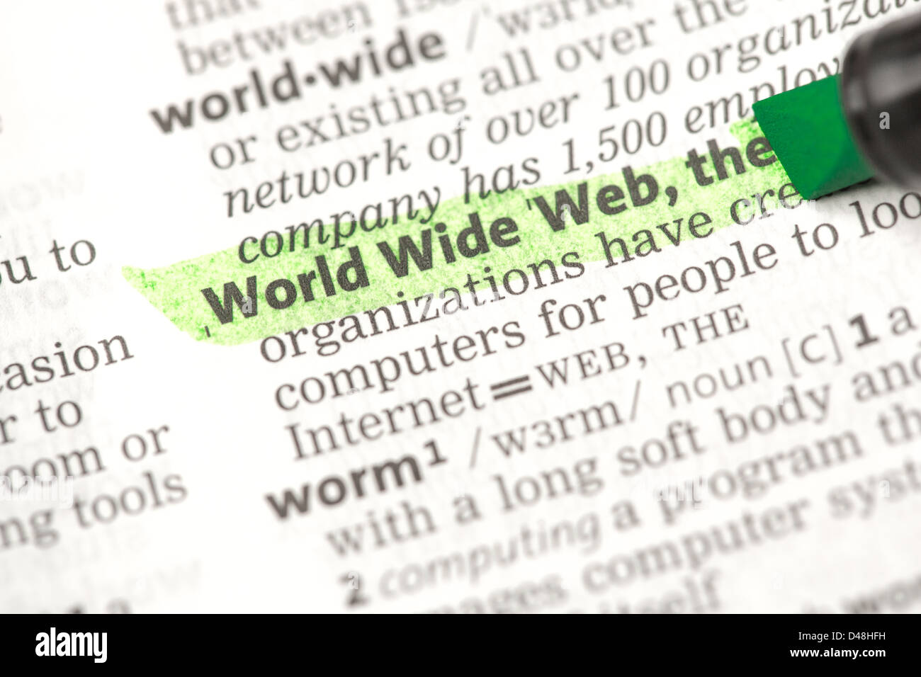 World Wide Web definition highlighted in green - Stock Image