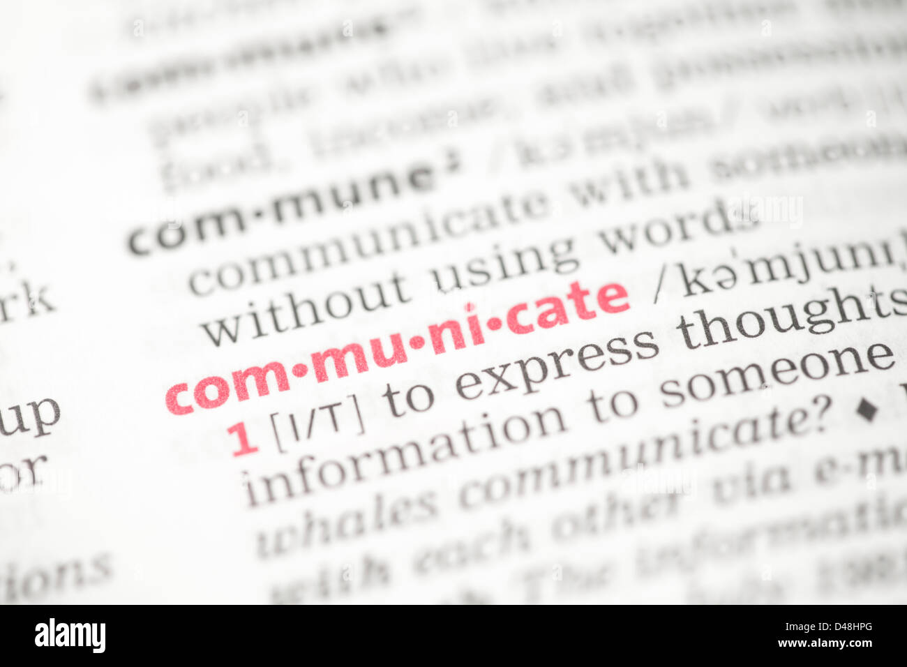 Communicate definition - Stock Image