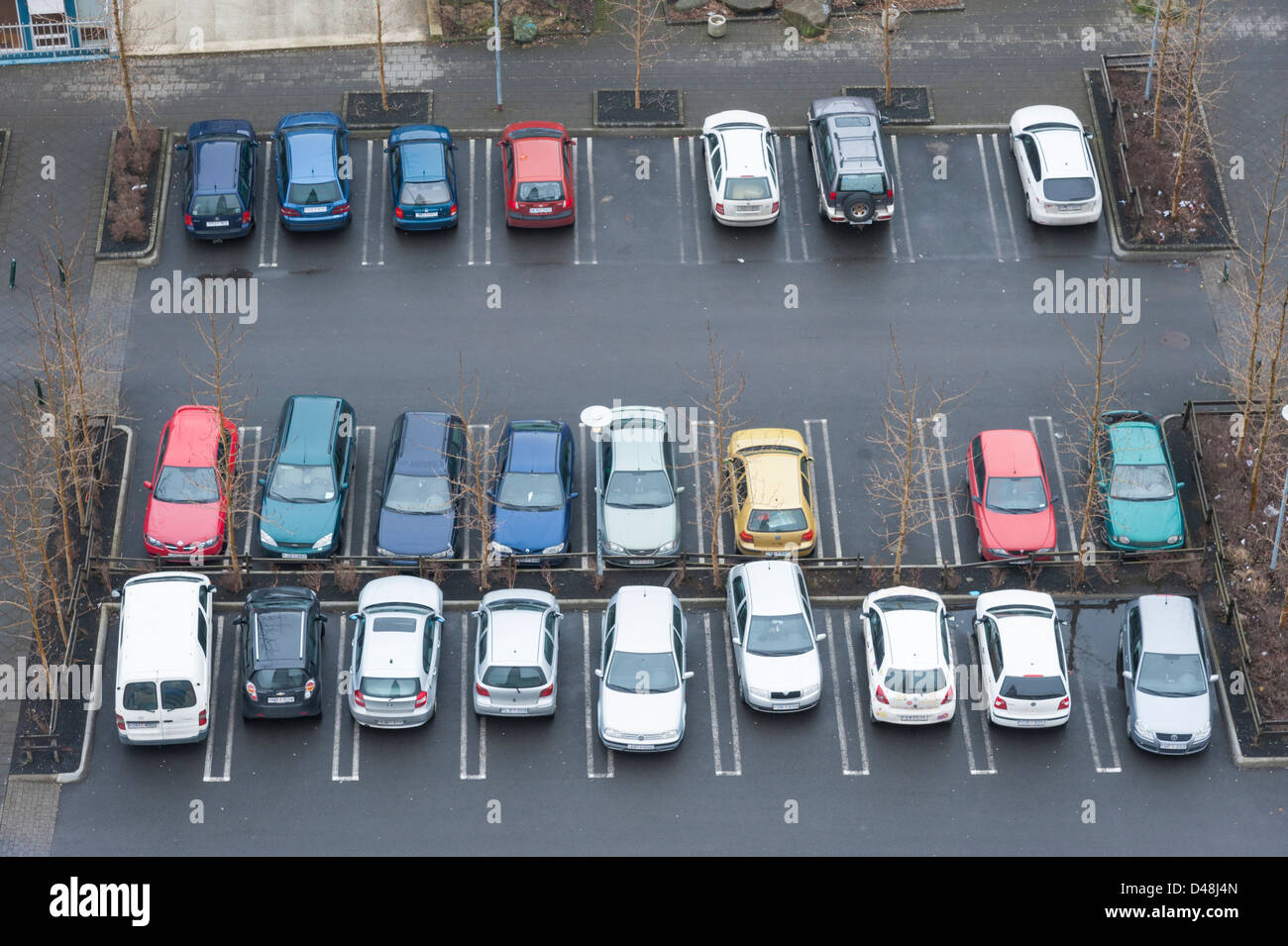 Aerial view of cars parked in a car park Reykjavik Iceland - Stock Image