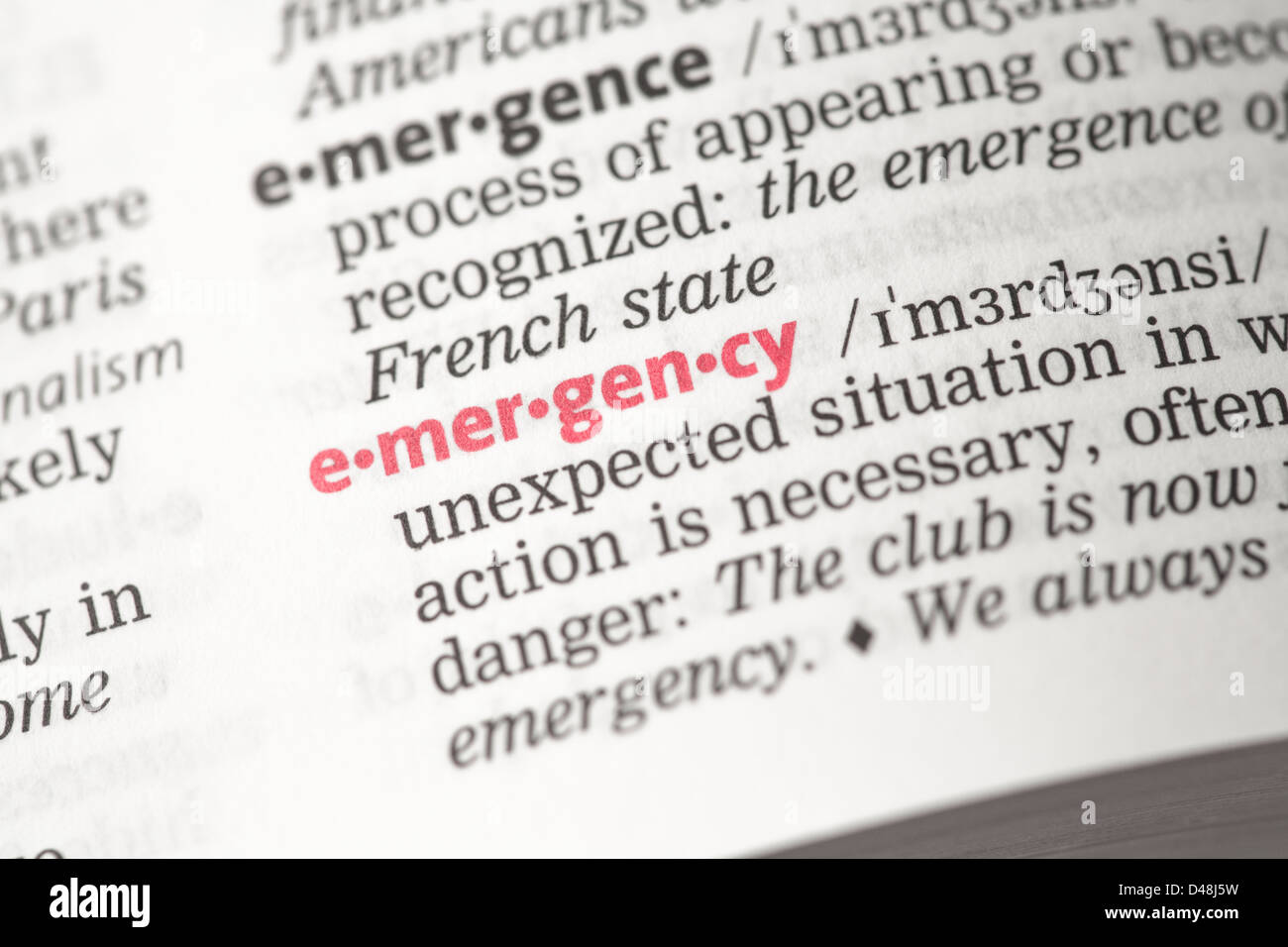 Emergency definition - Stock Image