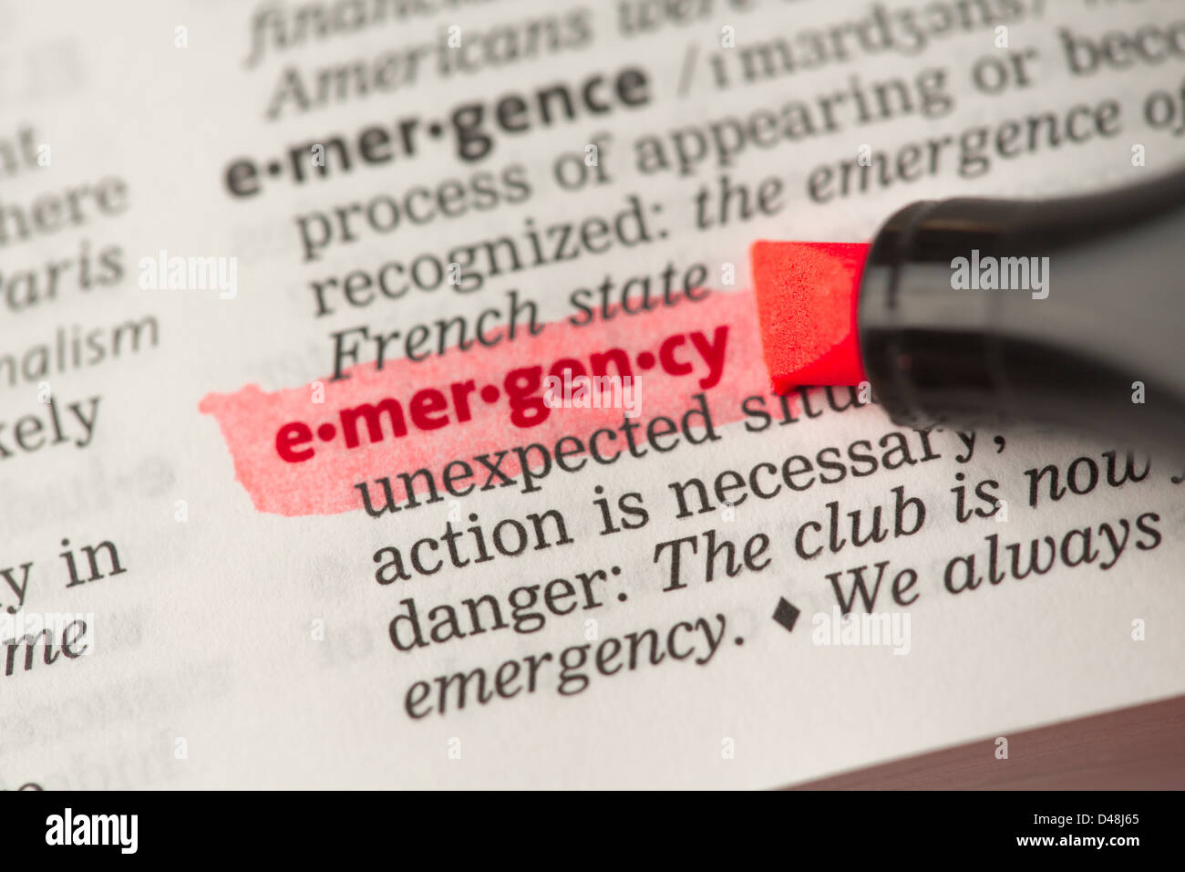 Emergency definition highlighted in red - Stock Image