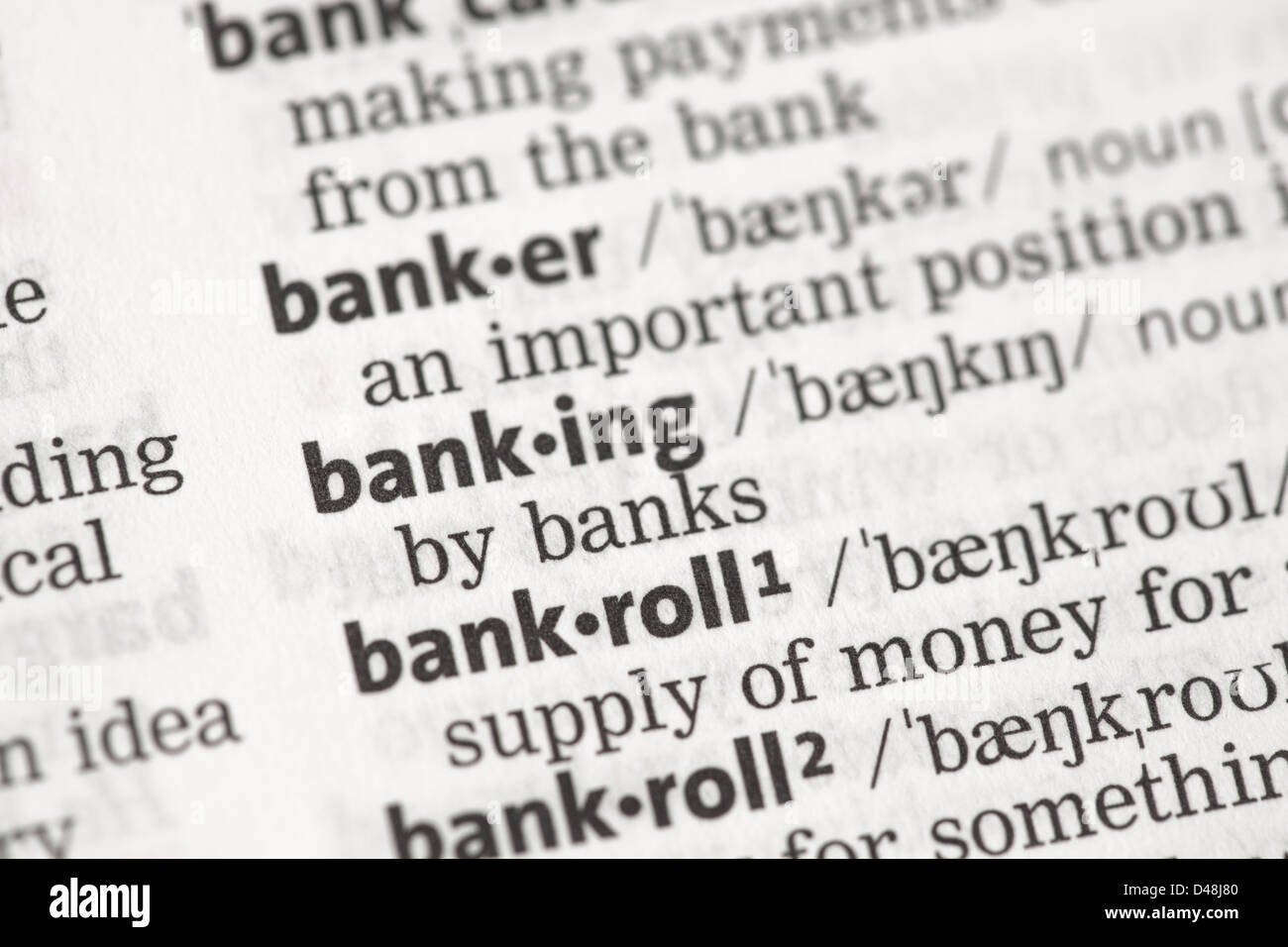 Banking definition - Stock Image
