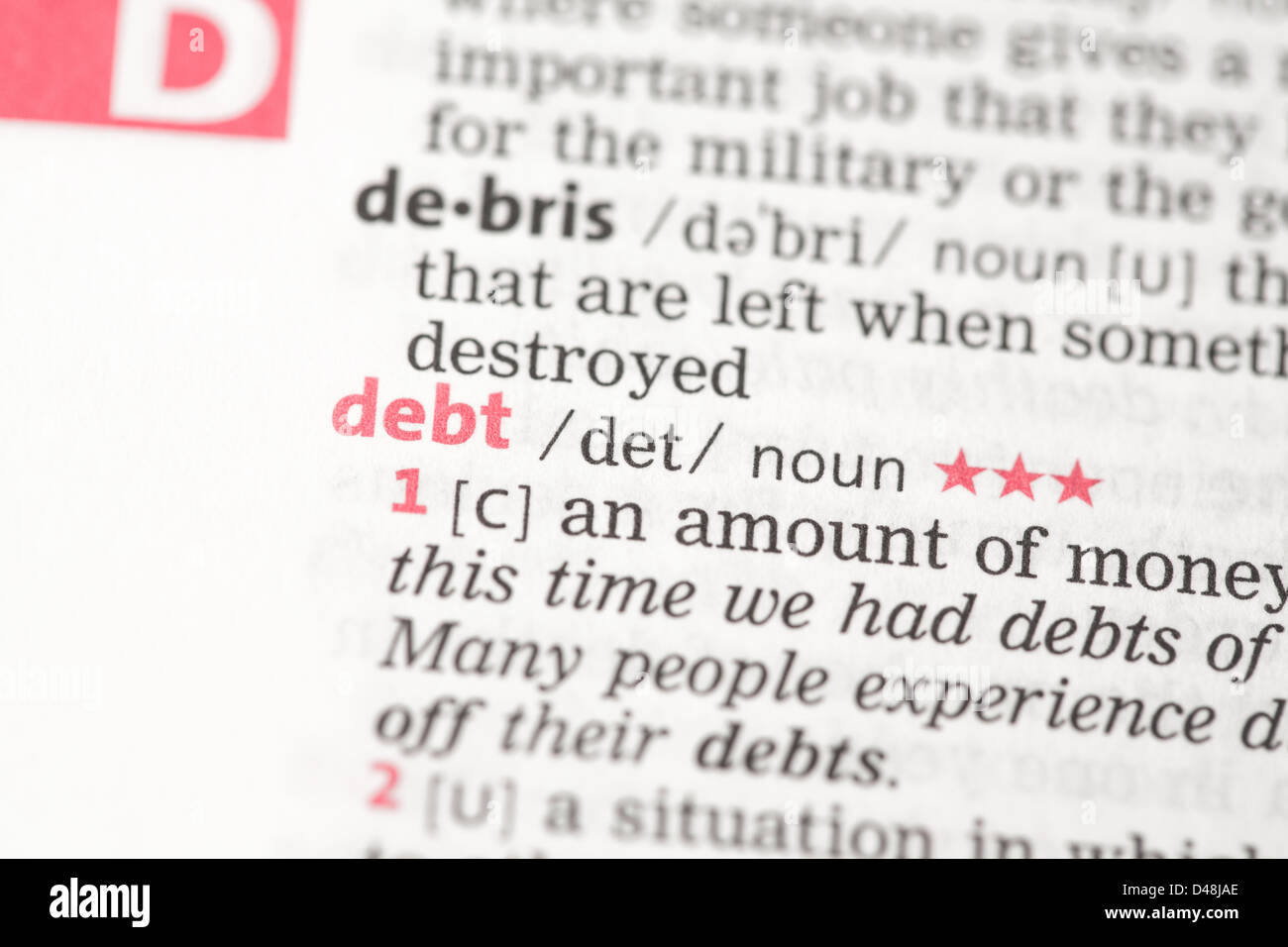 Debt definition - Stock Image