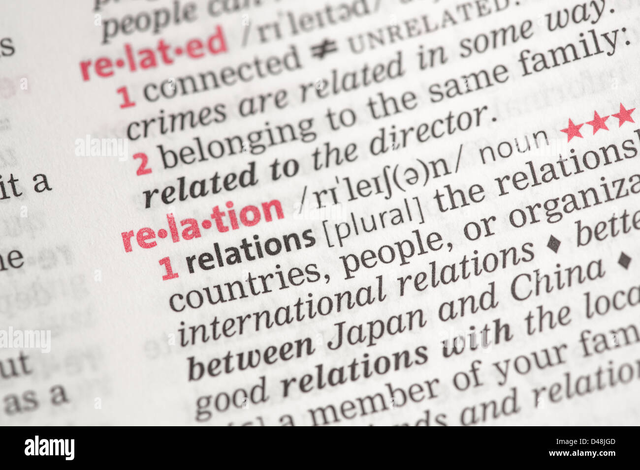 Relation definition - Stock Image