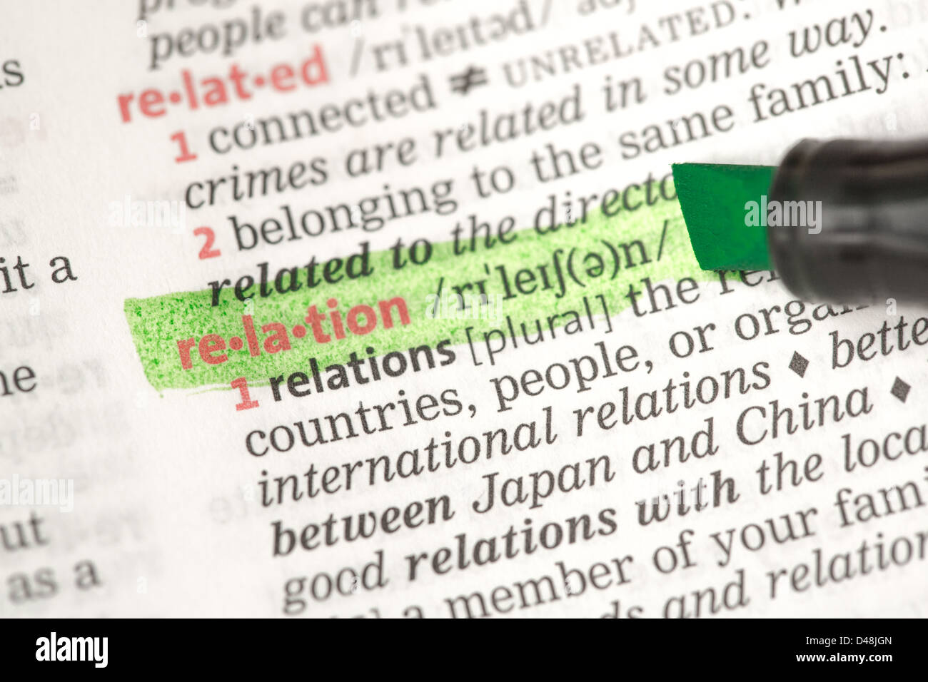 Relation definition highlighted in green - Stock Image