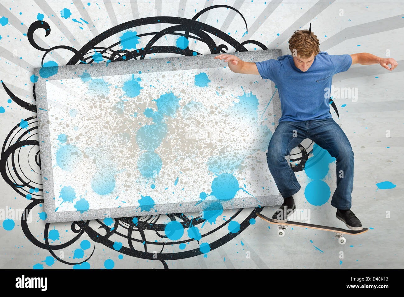 Skateboarder mid ollie in front of copy space screen Stock Photo