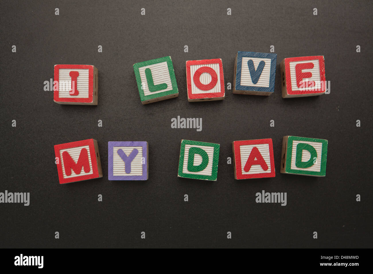I love my dad message in blocks Stock Photo