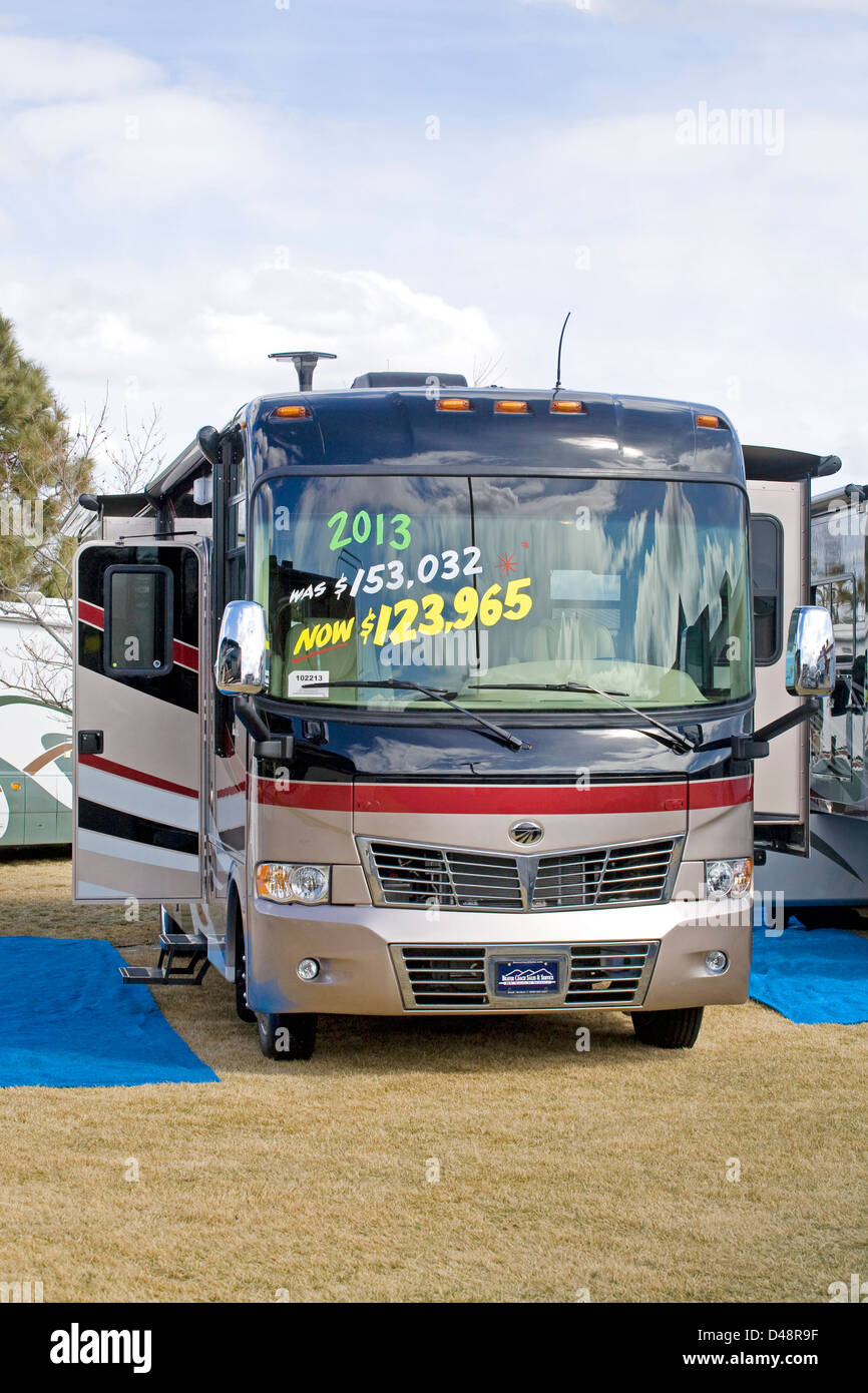 A very expensive motorhome at a sportsman's show in Redmond, Oregon - Stock Image