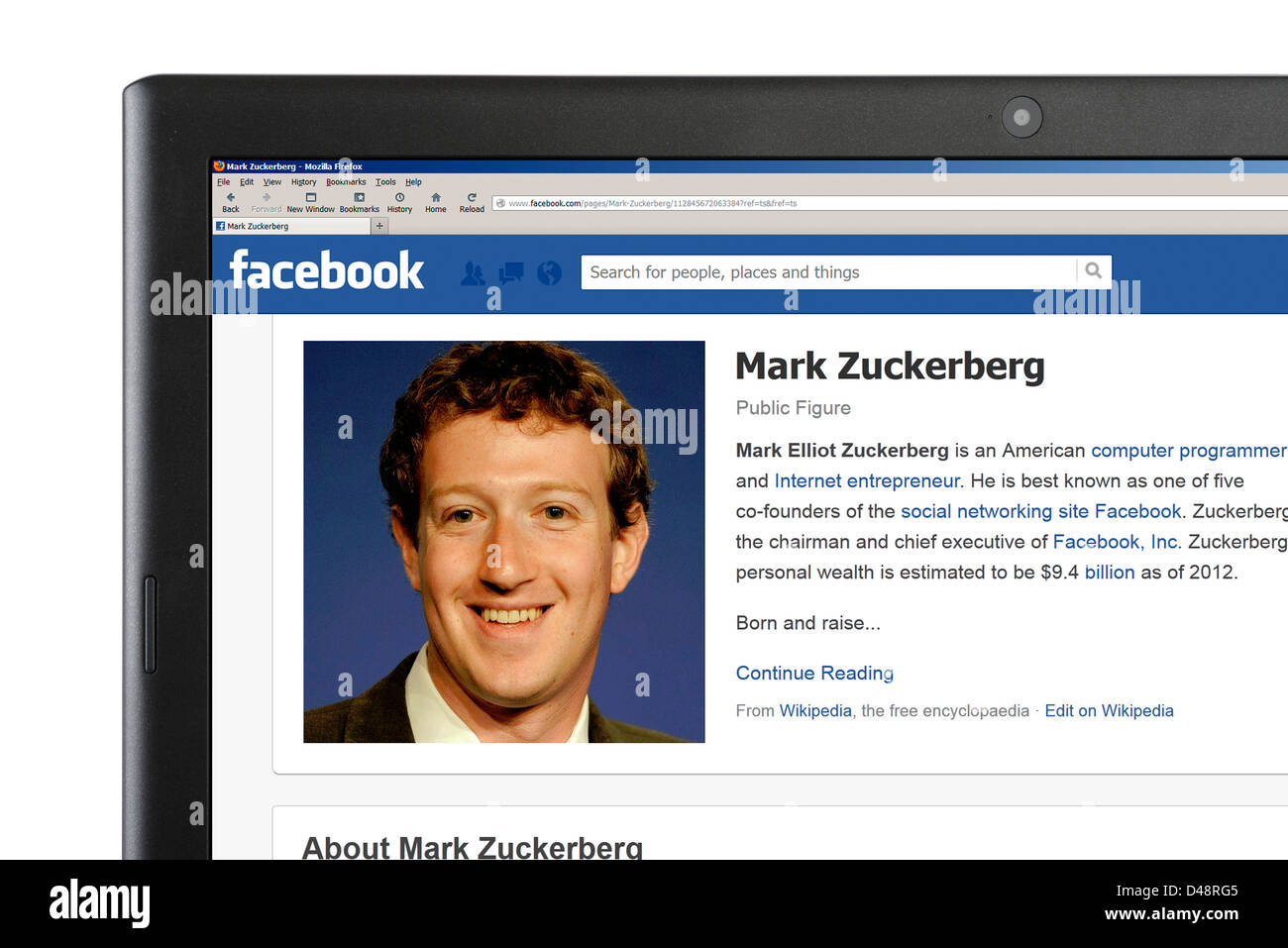 The Facebook profile of Mark Zuckerberg, one of the company's founders, viewed on a laptop computer - Stock Image