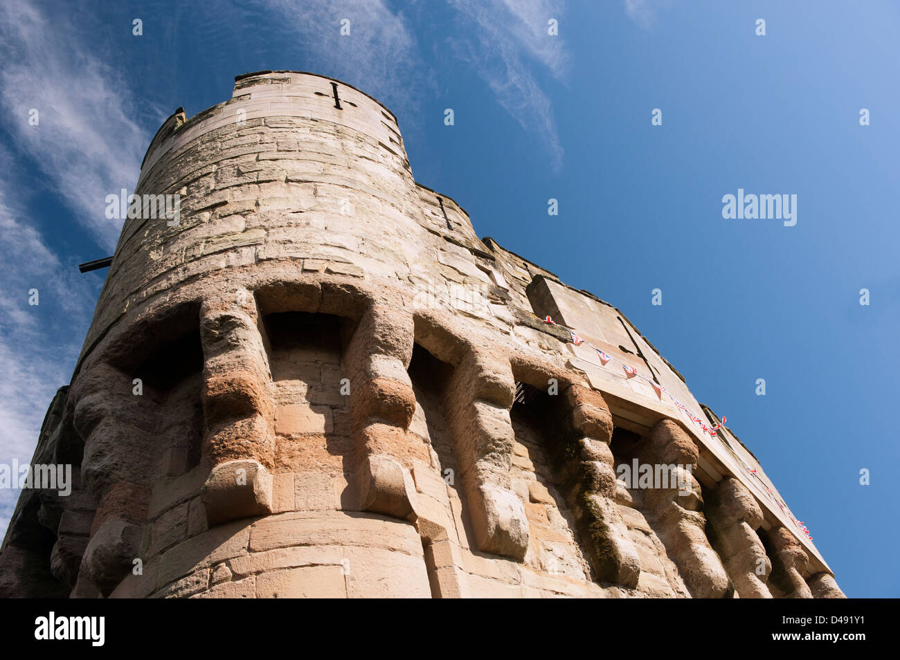 Round stone Tower and Turrets on Warwick Castle, Warwickshire, England - Stock Image