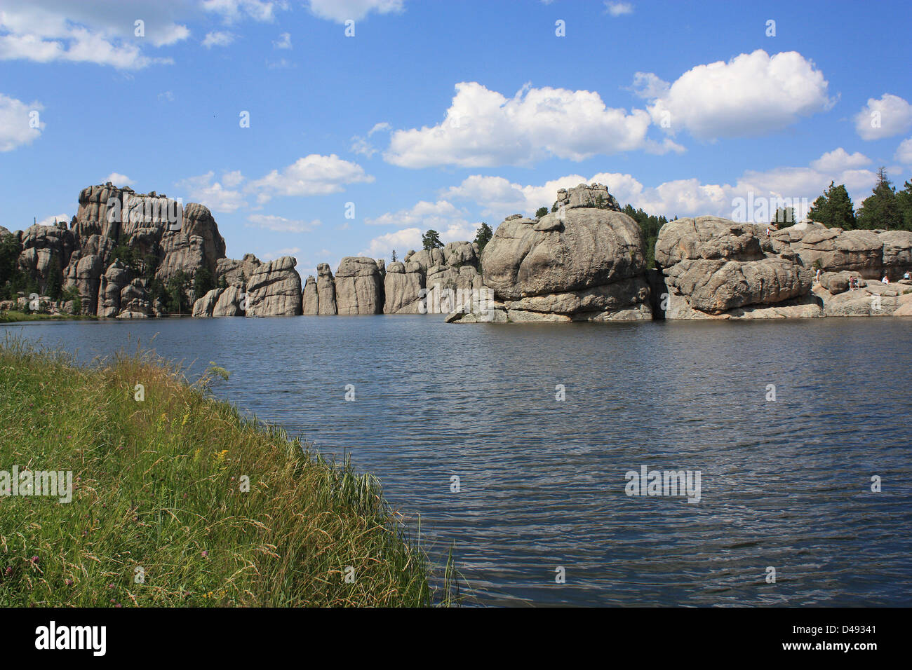 Sylvan Lake, known as the 'crown jewel' of Custer State Park, is located in the Black Hills of South Dakota - Stock Image