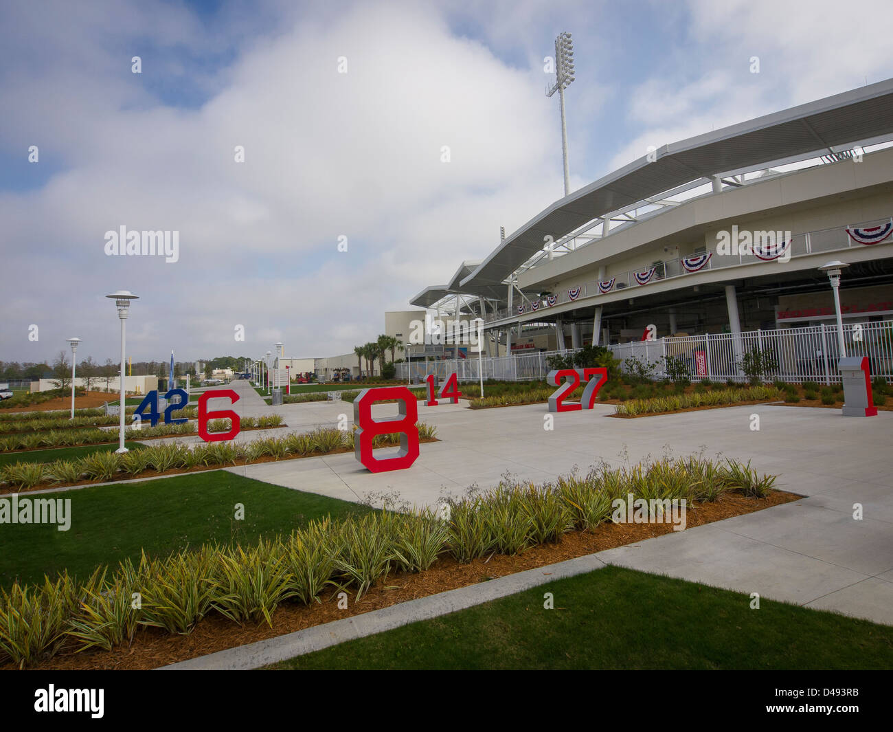 Like Fenway park in Boston, Fenway South is where the Boston Red Sox hold spring training in Fort Myers, Florida. - Stock Image