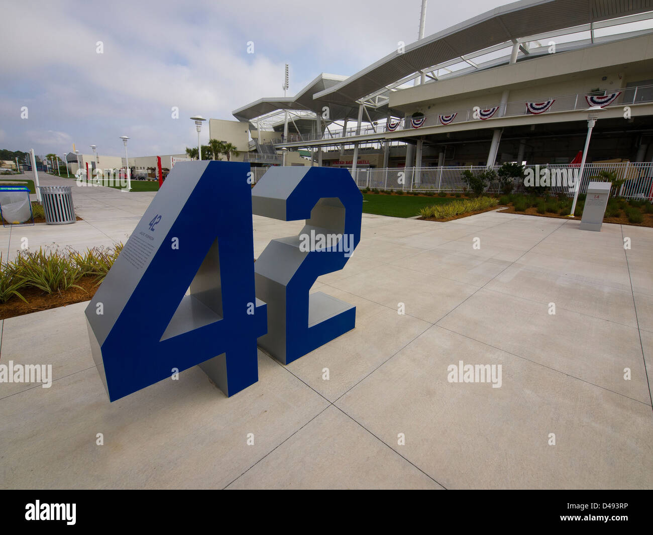 Brooklyn Dodger's number 42 worn by Jackie Robinson, remembered at Fenway South in Florida - Stock Image