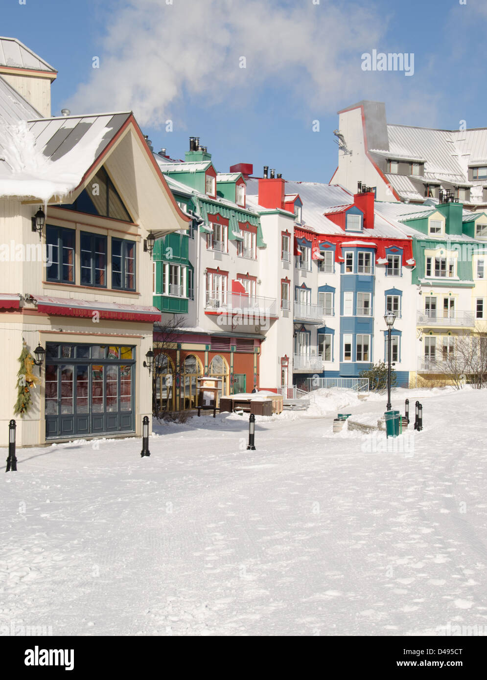 Snowy ski village in Mont Tremblant in Quebec, Canada - Stock Image