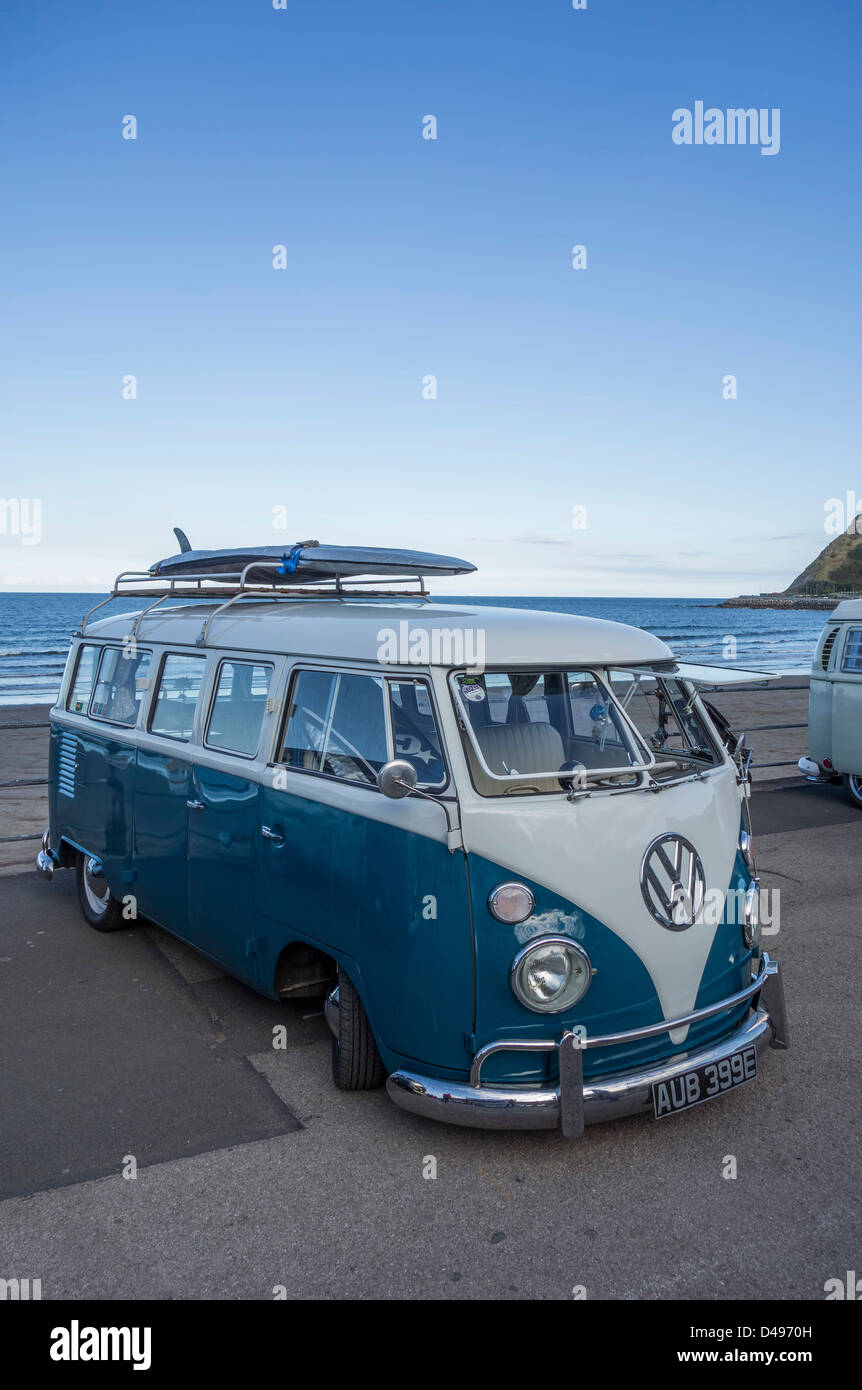 VW Campervan at Scarborough, North Yorkshire. - Stock Image
